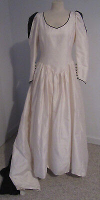 "1980s vintage cream wedding dress brides gown navy insets train long 32"" w"