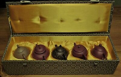 Box Set 5 Asian Terracotta Miniature Teapots