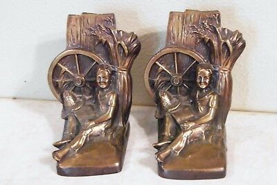 Vintage Brass PM Craftsman Bookends Country Boy Reading Book By Wagon Wheel