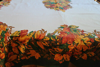 Vintage Thanksgiving Tablecloth Leaves Nuts