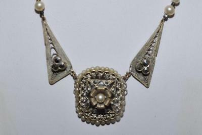 Beautiful Vintage Art Deco Filigree Necklace Set With Marcasite & Faux Pearls