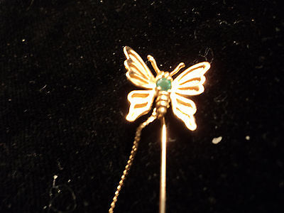14K Y gold butterfly & Emerald Stick pin  With Attached end .3.2 Grams