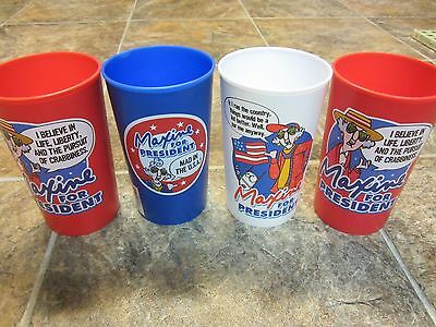 4 Hallmark Maxine for President Cups, Red White & Blue Plastic 5 5/8 inches Tall