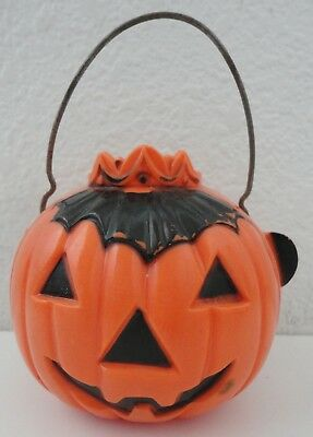 Vintage Halloween Jack-O-Lantern w/ Crown Hard Plastic Candy Container 1950s