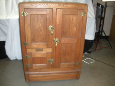 Antique 3-door Oak Ice Box Early 1900's Vintage Local Pick Up (670)