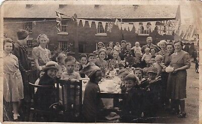 Vintage Street Party Photo Wwii? Coronation? Stafford?