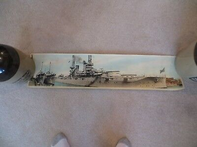 1914 HUGE COLOR PHOTO BATTLESHIP U.S.S. NEW YORK with U.S.S. DENT & PHILIP old