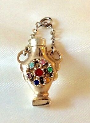 Antique Jeweled Mini Perfume Bottle Pendant Charm Vintage