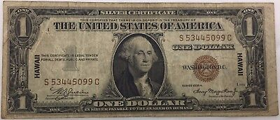 1935 A Hawaii $1 Silver Dollar Certificate Note Bill