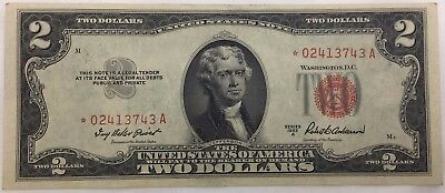 1953-A $2 Two Dollar *STAR* Red Seal Note Bill