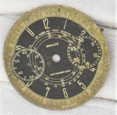 Mulco Valjoux 22 VTG `40S Chronograph watch two tone black & ghost dial Ø31.0mm