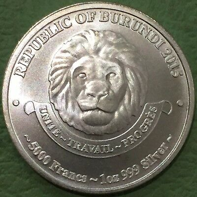 2015 Republic of Burundi African Lion 5000 Francs 1oz 999 Silver Coin