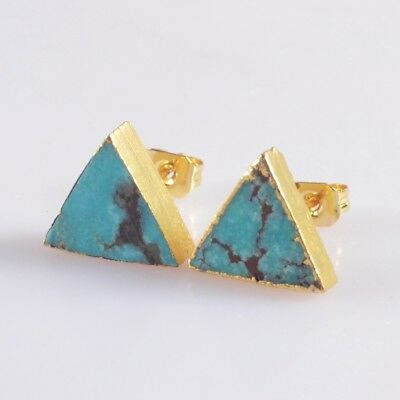 10mm Triangle Natural Genuine Turquoise Stud Earrings Gold Plated T047133