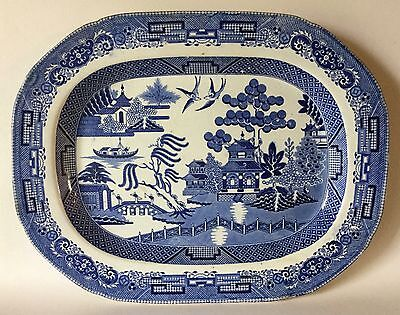 "Ca 1820s CLEWS Warranted Staffordshire Platter 14 7/8"" Blue Willow Transferware"