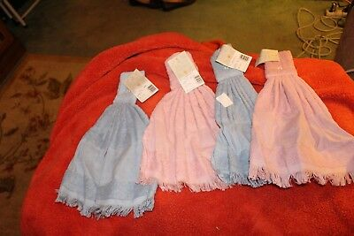 4 ready to cross stitch cotton hang towels blue and pink