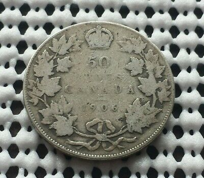 1906 ❀ King Edward VII ❀ Silver 50 Cents Half Dollar Canada