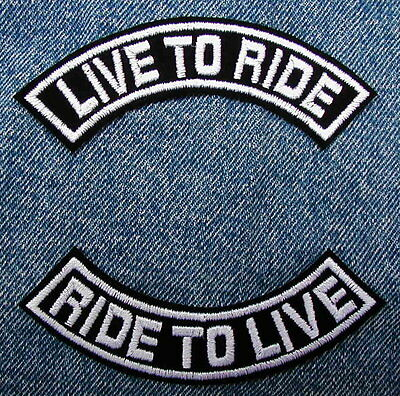 """4"""" LIVE TO RIDE   Rocker Set  Motorcycle Biker Patches by Dixiefarmer in White"""
