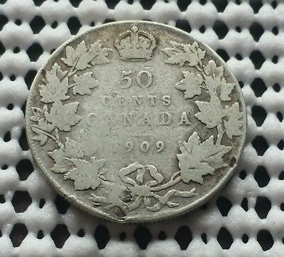 1909 ❀ King Edward VII ❀ Silver 50 Cents Half Dollar Canada