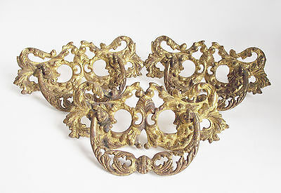 Set 3 LARGE Antique VICTORIAN Brass DRAWER PULL Gold LEAF Bale HANDLE Hardware