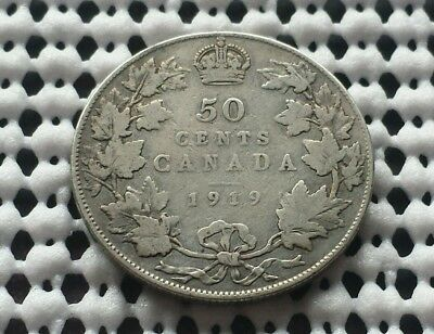 1919 ❀ King George V ❀ Silver 50 Cents Half Dollar Canada