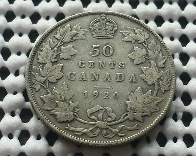 1920 ❀ King George V ❀ Silver 50 Cents Half Dollar Canada