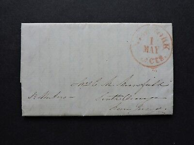 c1840s NY 4pg STAMPLESS LETTER to SOUTH ORANGE NJ MANSFIELD ! CONTENT SERVANTS +