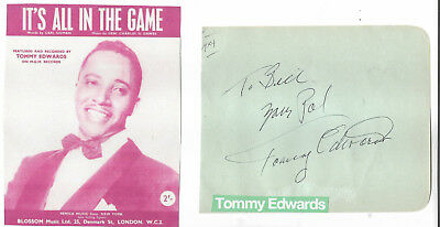 Tommy Edwards - Vintage Genuine Hand Signed/inscribed Album Page With Picture.