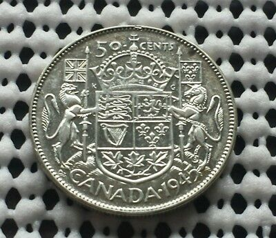 1945 ❀ King George VI ❀ Silver 50 Cents Half Dollar Canada