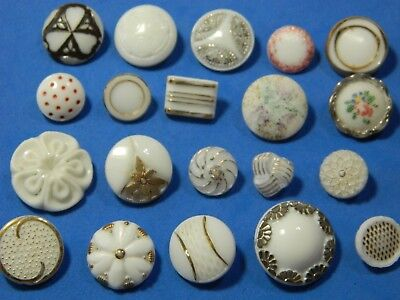 LOT  Vintage Milk Glass WHITE buttons Gold Silver Flashing FLOWERS ++