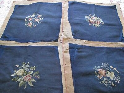 4 Vintage Wool Hand Embroidered Needlepoint Chair Cover French Sumer Caves