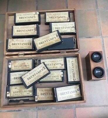 Lot Antique WW1 Military Brentanos Glass Stereoview Slides Stereoscope & Viewer
