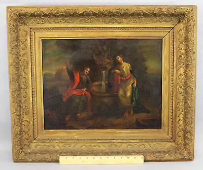 Early Antique 18thC O/C Oil Painting Jesus at the Well & Samaritan Woman NR