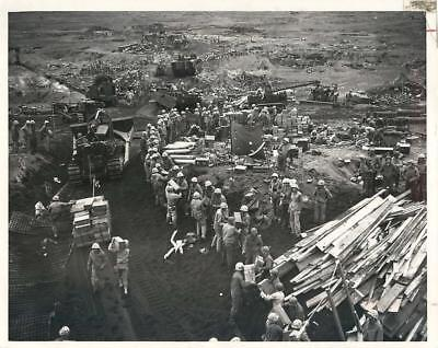 WWII U.S. Marines Landing Supplies on Beach of Iwo Jima Original Press Photo