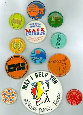 12 Vintage 1960s-70s Industrial Art Pinback Buttons - Culture And History; NAIA