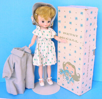 "1950s BLONDE 6.5"" BETSY MCCALL in GREEN POLKA DOT DRESS & COAT w BERETS BOXED!"