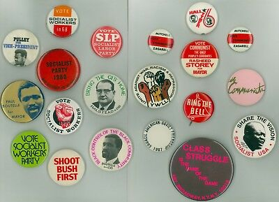 20 Vintage 1960s-80s Socialist Party Political Campaign Pinback Buttons - Pulley