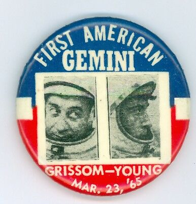 Vintage 1965 NASA Gemini First American Grissom Young Pinback Button