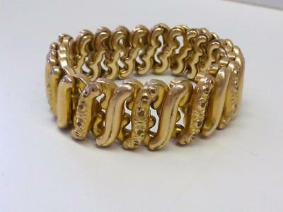 Antique Yellow GF Gold Filled Stretch Expandable Bracelet Reposse Link