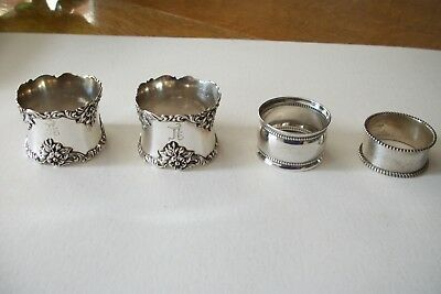 Antique Sterling Silver Napkin Rings One Marked Birks