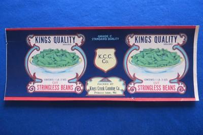 Vintage Can Label Kings Quality Stringless Beans Kings Creek Canning, Maryland