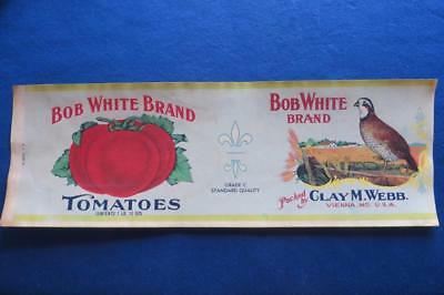 Vintage Can Label Bob White Brand Tomatoes Clay M Webb, Vienna, Maryland