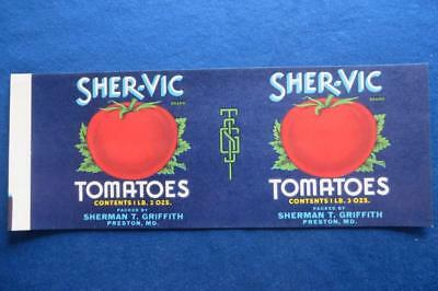 Vintage Can Label Sher-Vic brand Tomatoes Sherman Griffith Preston, Maryland
