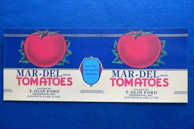 Vintage Can Label Mar-Del brand Tomatoes T.Olin Ford Henderson, Maryland
