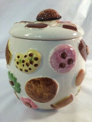 Los Angeles Potteries Cookie Jar- Cookies All Over With Walnut Handle- 1950's