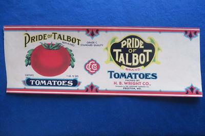 Vintage Can Label Pride of Talbot Brand Tomatoes H.B. Wright Co Preston MD