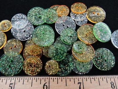 AWESOME LOT SPARKLY VINTAGE PLASTIC BUTTONS Green Clear Gold