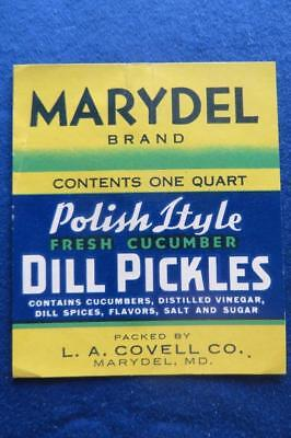 Vintage Can Label Marydel Brand Dill Pickles  L.A. Covell Co Marydel  Maryland