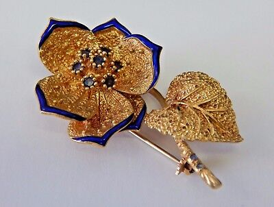 VINTAGE Solid 18k Yellow Gold, Sapphire Blue Enamel Flower Ladies Pin Italy