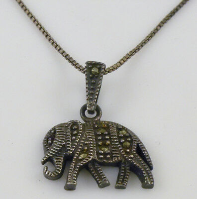 Red Rhinestone Marcasite Elephant Pendant Sterling Chain Necklace