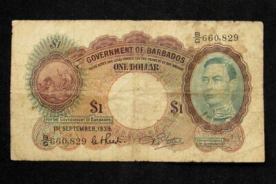 1939 Issue Barbados $1 Note - VG - PICK# 2b PG 93